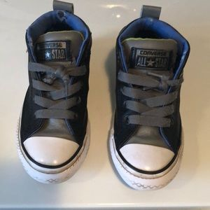 Boys Leather Converse Slip On High Tops 11
